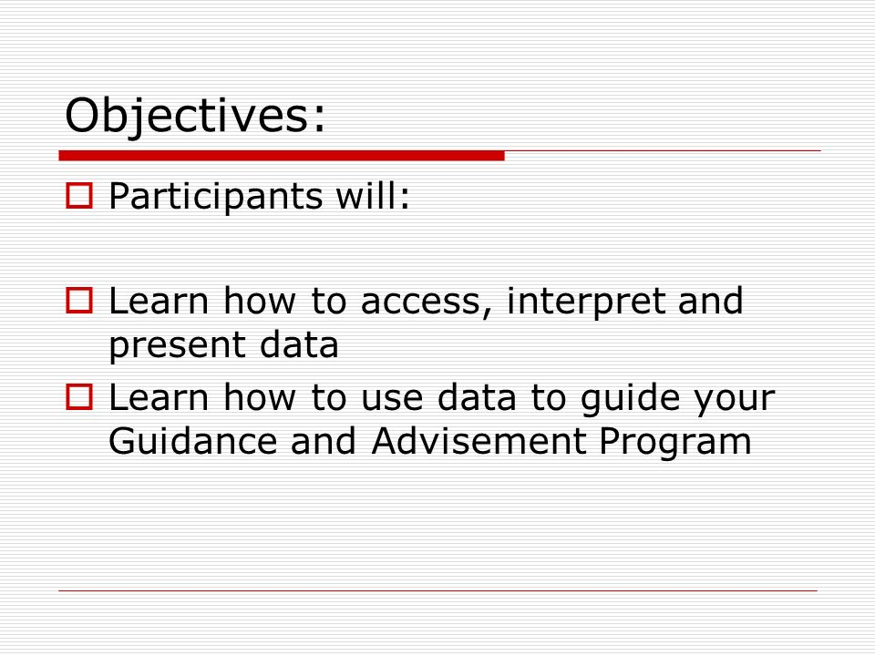 Program Evaluation Data What do you want to know? Process data Perception data Results data