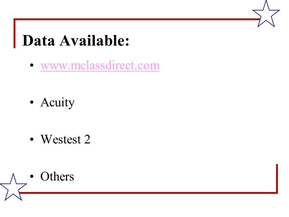 Data Available: www.mclassdirect.com Acuity Westest 2 Others