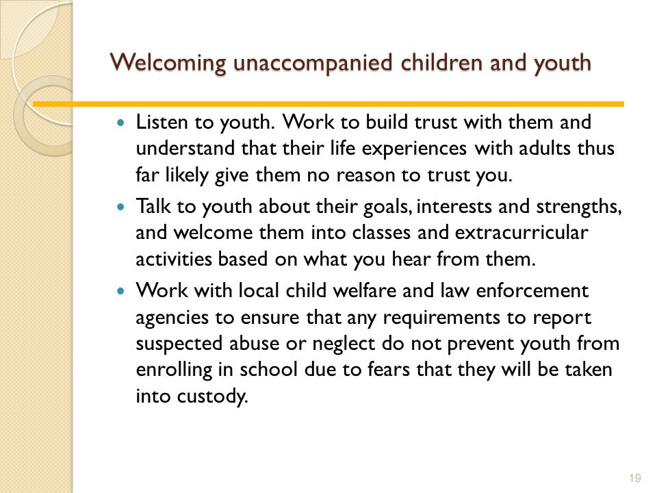 Welcoming unaccompanied children and youth Listen to youth.