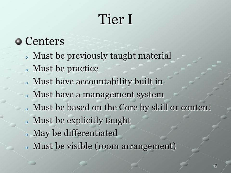 12 Tier I Centers Centers o Must be previously taught material o Must be practice o Must have accountability built in o Must have a management system