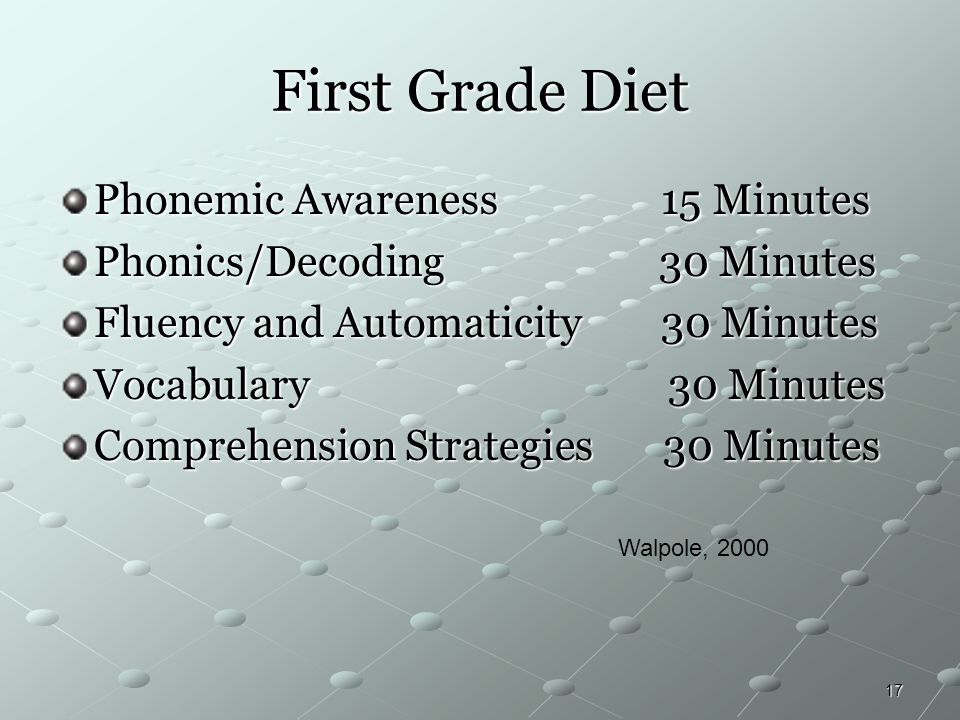 17 First Grade Diet Phonemic Awareness 15 Minutes Phonics/Decoding 30 Minutes Fluency and Automaticity 30 Minutes Vocabulary 30 Minutes Comprehension