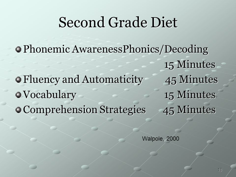 18 Second Grade Diet Phonemic AwarenessPhonics/Decoding 15 Minutes 15 Minutes Fluency and Automaticity 45 Minutes Vocabulary 15 Minutes Comprehension