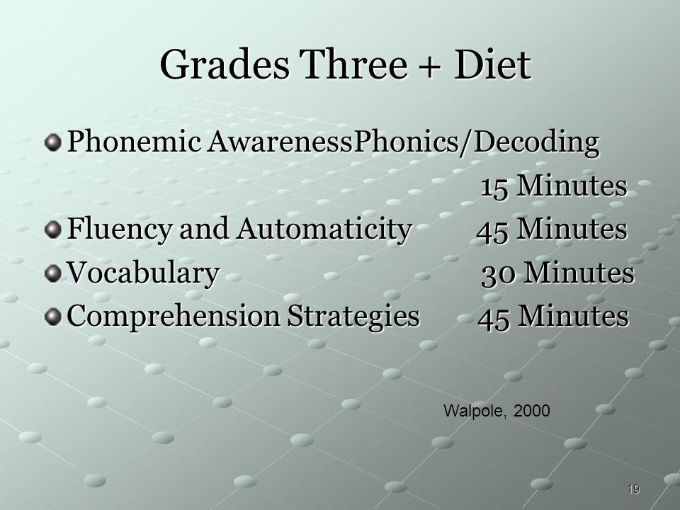 19 Grades Three + Diet Grades Three + Diet Phonemic AwarenessPhonics/Decoding 15 Minutes 15 Minutes Fluency and Automaticity 45 Minutes Vocabulary 30