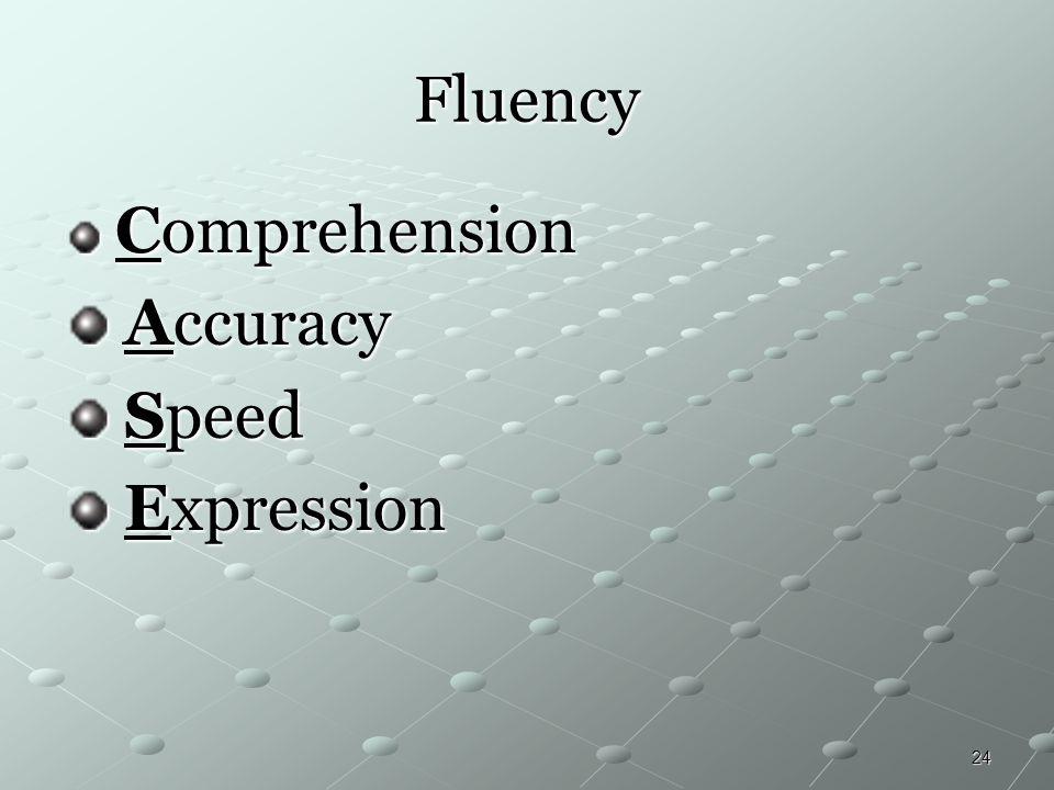 24 Fluency Comprehension Comprehension Accuracy Accuracy Speed Speed Expression Expression