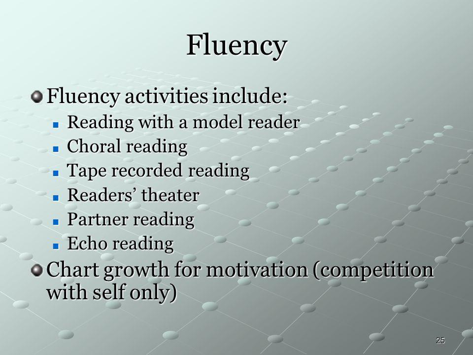 25 Fluency Fluency activities include: Reading with a model reader Reading with a model reader Choral reading Choral reading Tape recorded reading Tap