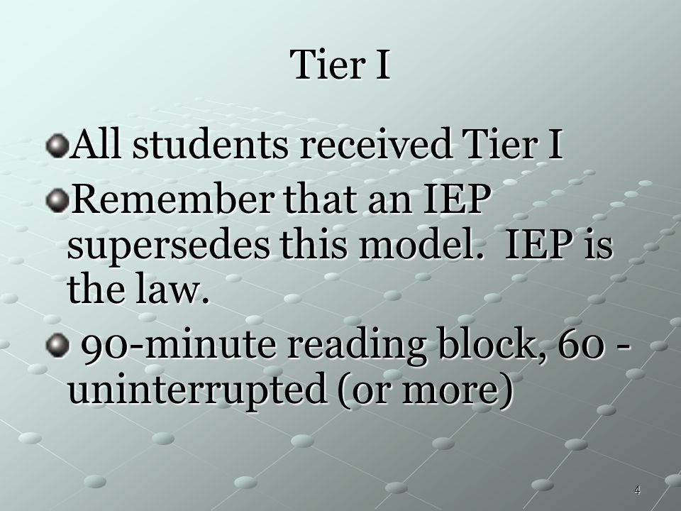 4 Tier I All students received Tier I Remember that an IEP supersedes this model. IEP is the law. 90-minute reading block, 60 - uninterrupted (or more