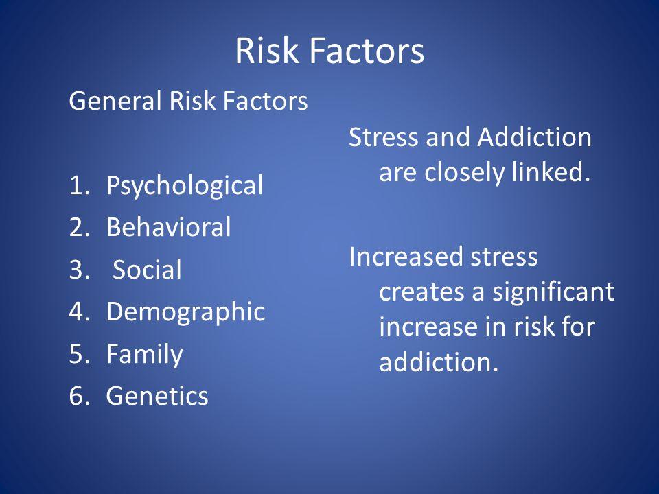 Risk Factors General Risk Factors 1.Psychological 2.Behavioral 3.
