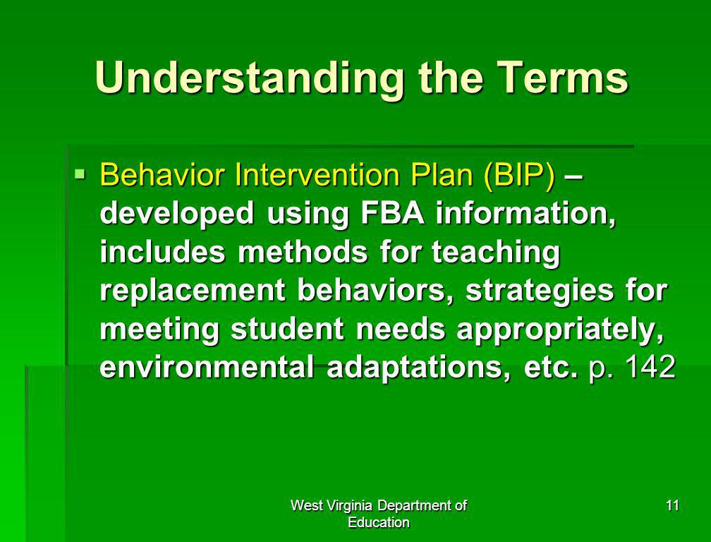 West Virginia Department of Education 11 Understanding the Terms Behavior Intervention Plan (BIP) – developed using FBA information, includes methods