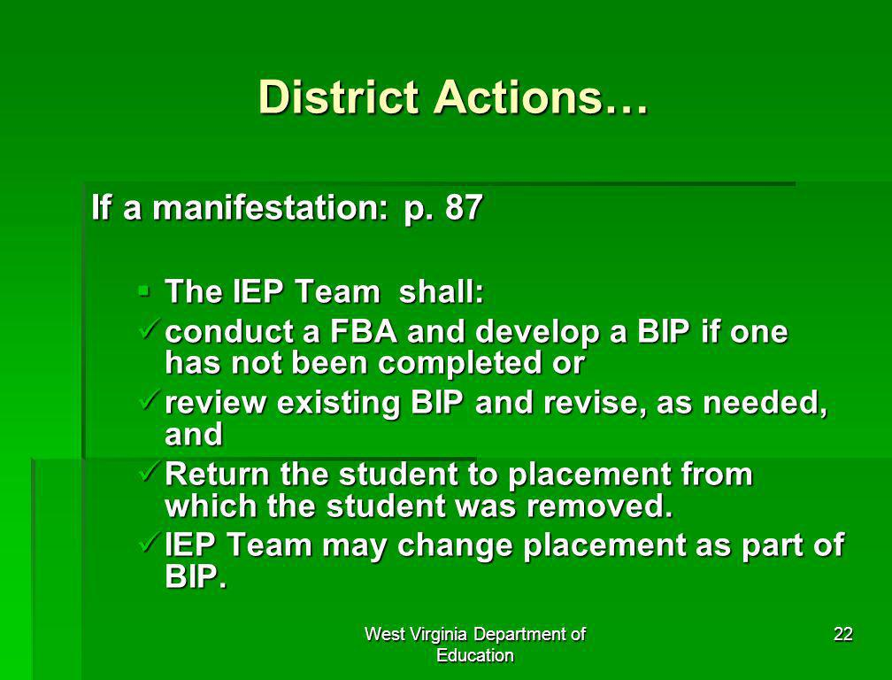 West Virginia Department of Education 22 District Actions… If a manifestation: p. 87 The IEP Team shall: The IEP Team shall: conduct a FBA and develop