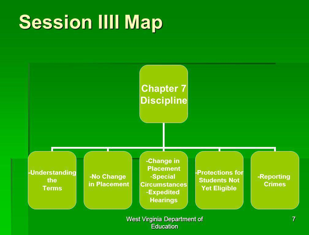 West Virginia Department of Education 7 Session IIII Map