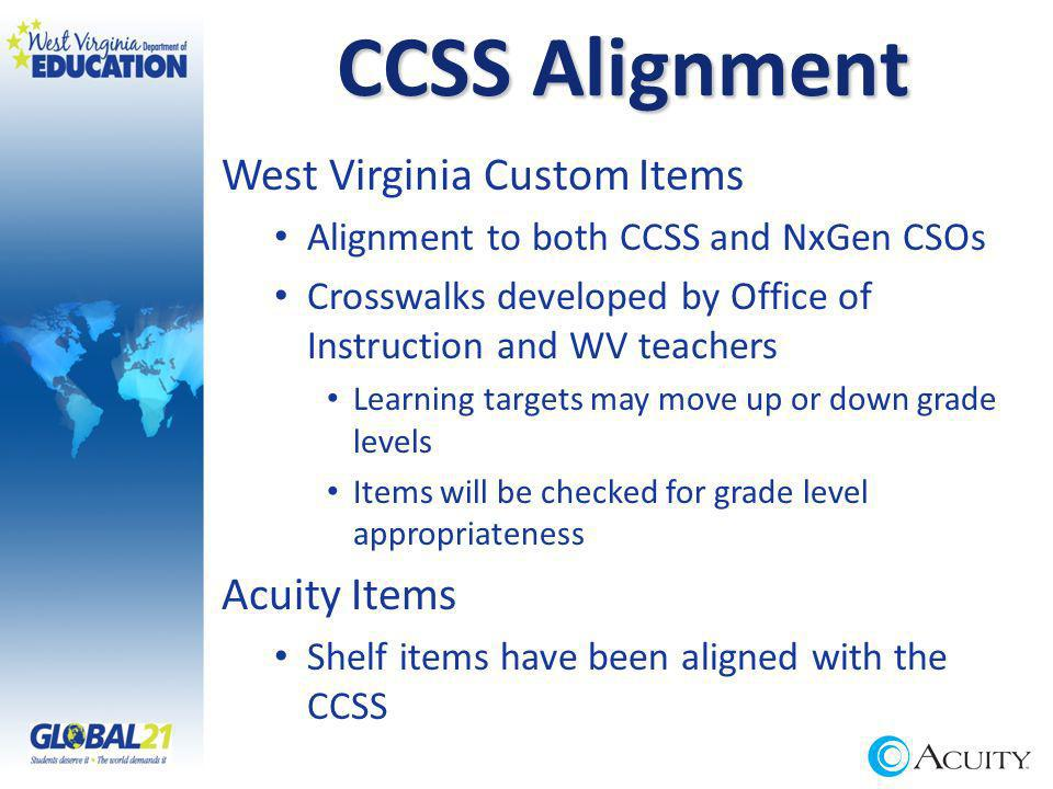 CCSS Alignment West Virginia Custom Items Alignment to both CCSS and NxGen CSOs Crosswalks developed by Office of Instruction and WV teachers Learning targets may move up or down grade levels Items will be checked for grade level appropriateness Acuity Items Shelf items have been aligned with the CCSS
