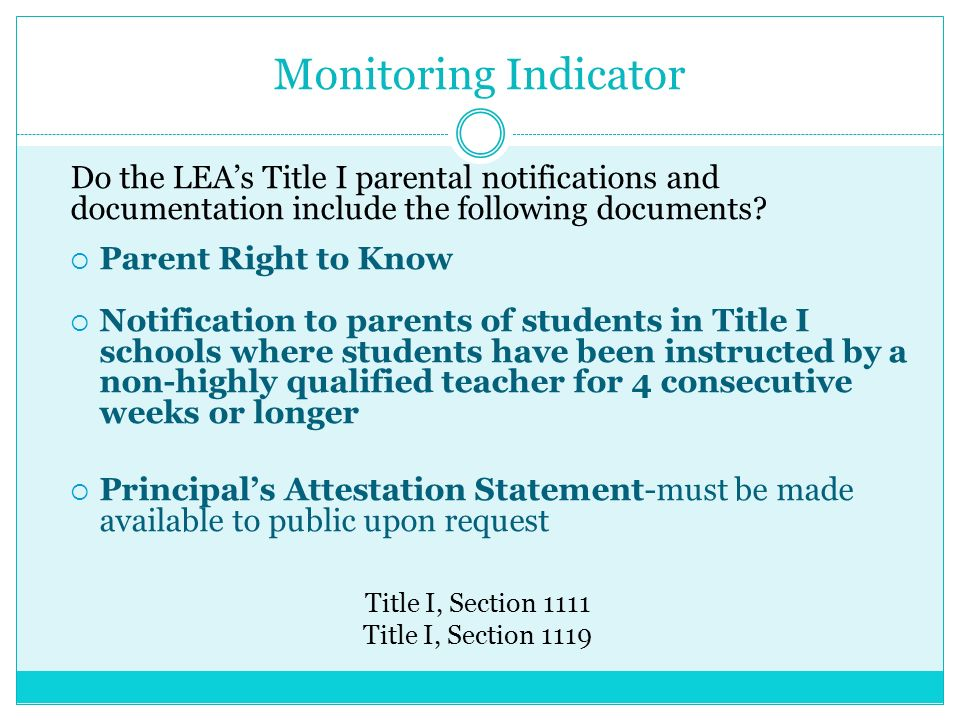 Monitoring Indicator Do the LEAs Title I parental notifications and documentation include the following documents.