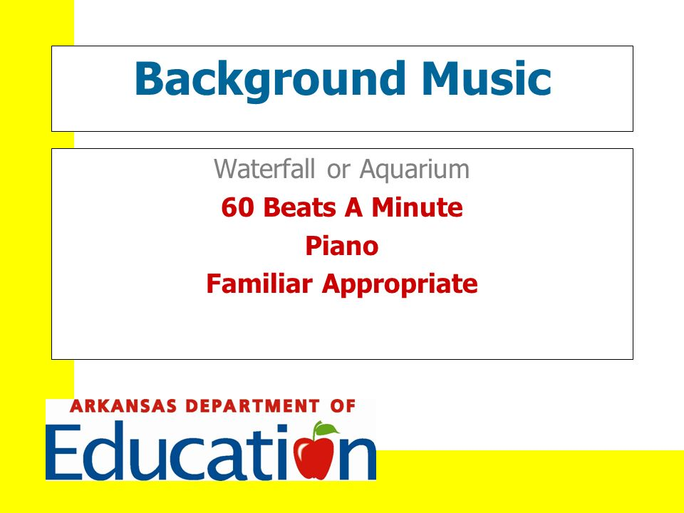 Background Music Waterfall or Aquarium 60 Beats A Minute Piano Familiar Appropriate
