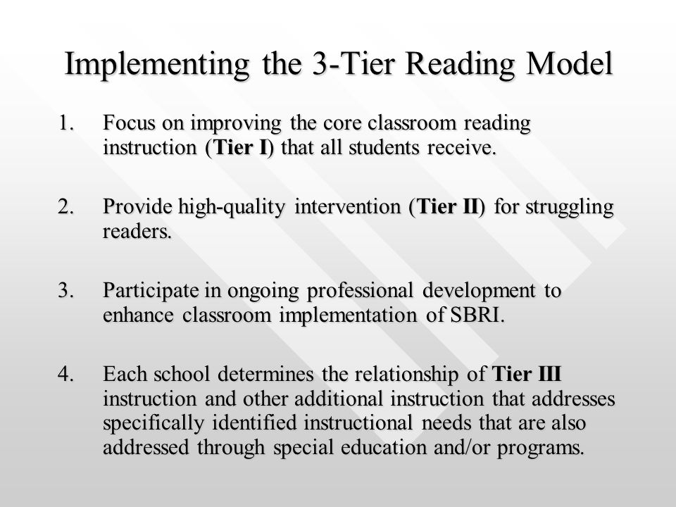 Implementing the 3-Tier Reading Model 1.Focus on improving the core classroom reading instruction (Tier I) that all students receive. 2.Provide high-q