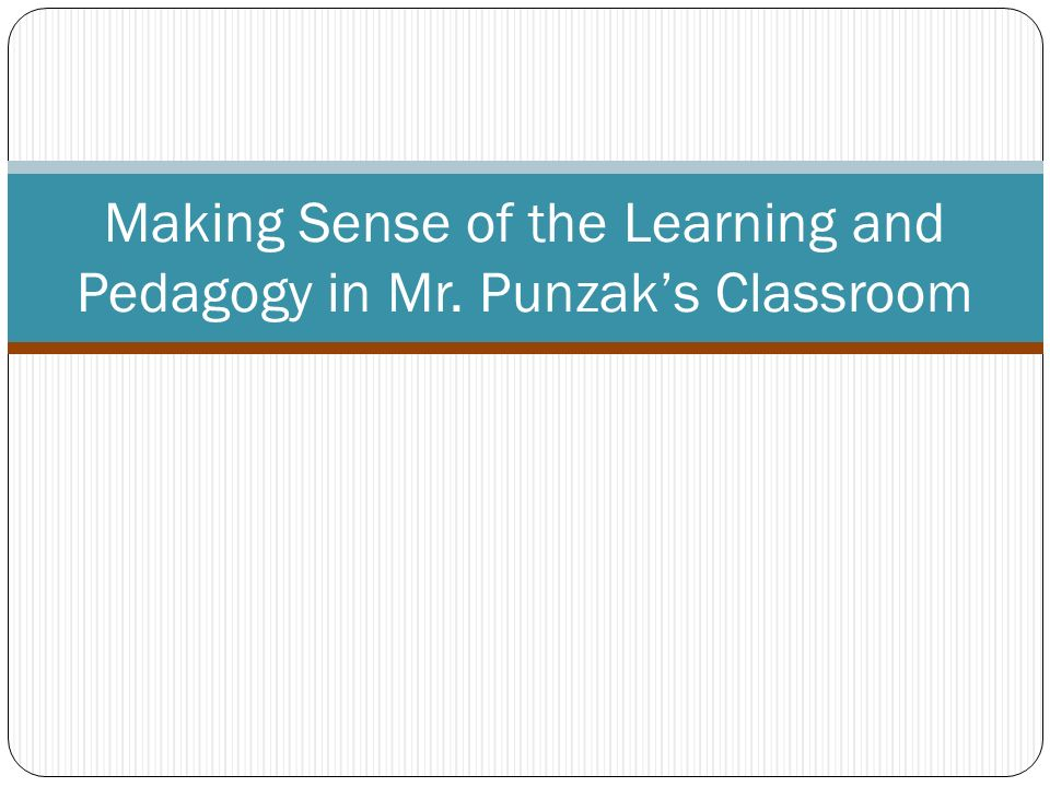 Making Sense of the Learning and Pedagogy in Mr. Punzaks Classroom