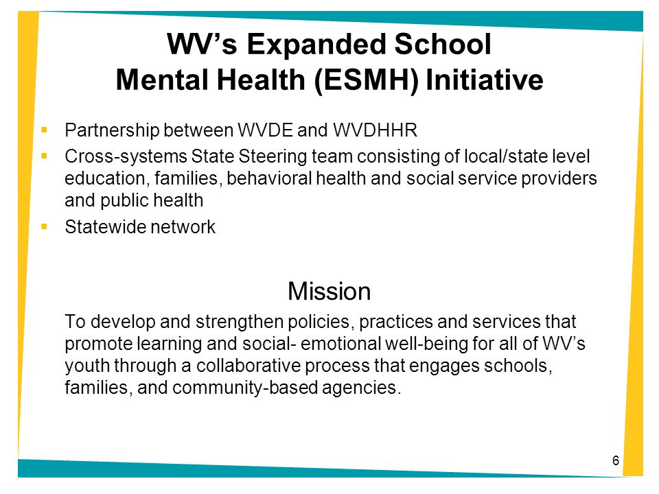 7 The West Virginia System of Care is a public/private/consumer partnership dedicated to building the foundation for an effective continuum of care that empowers children at risk of out-of-home care and their families.