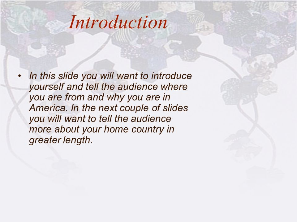 Introduction In this slide you will want to introduce yourself and tell the audience where you are from and why you are in America. In the next couple