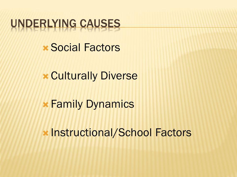 Social Factors Culturally Diverse Family Dynamics Instructional/School Factors