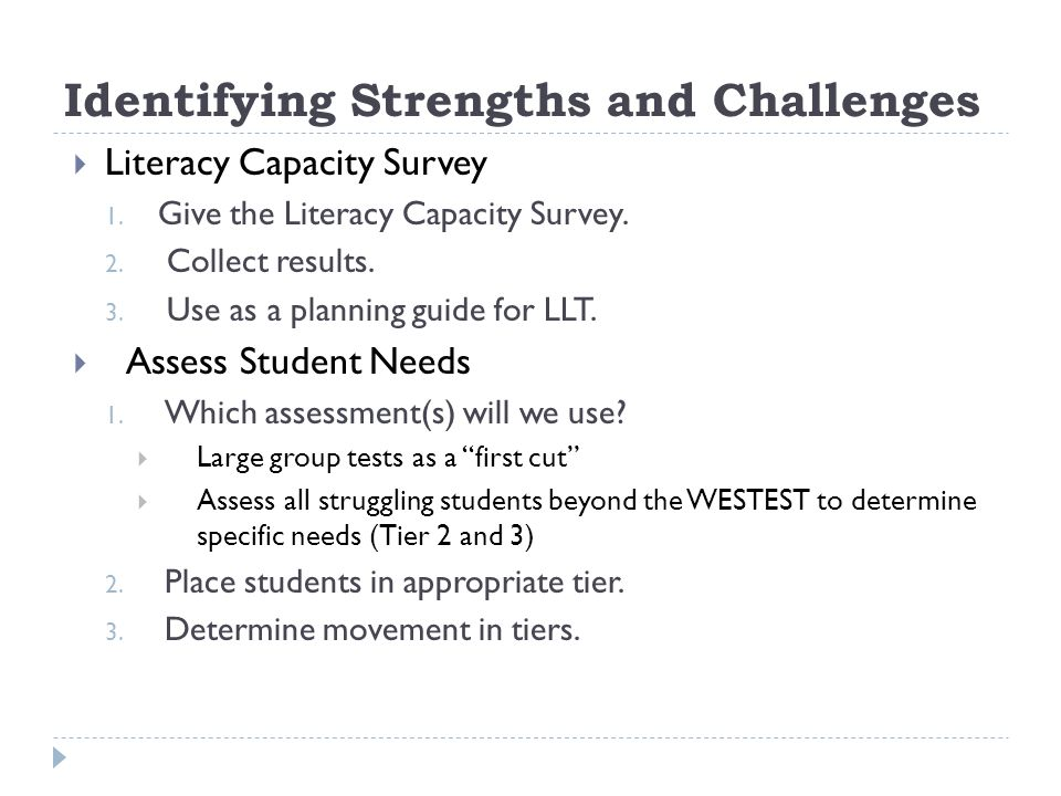Identifying Strengths and Challenges Literacy Capacity Survey 1. Give the Literacy Capacity Survey. 2. Collect results. 3. Use as a planning guide for