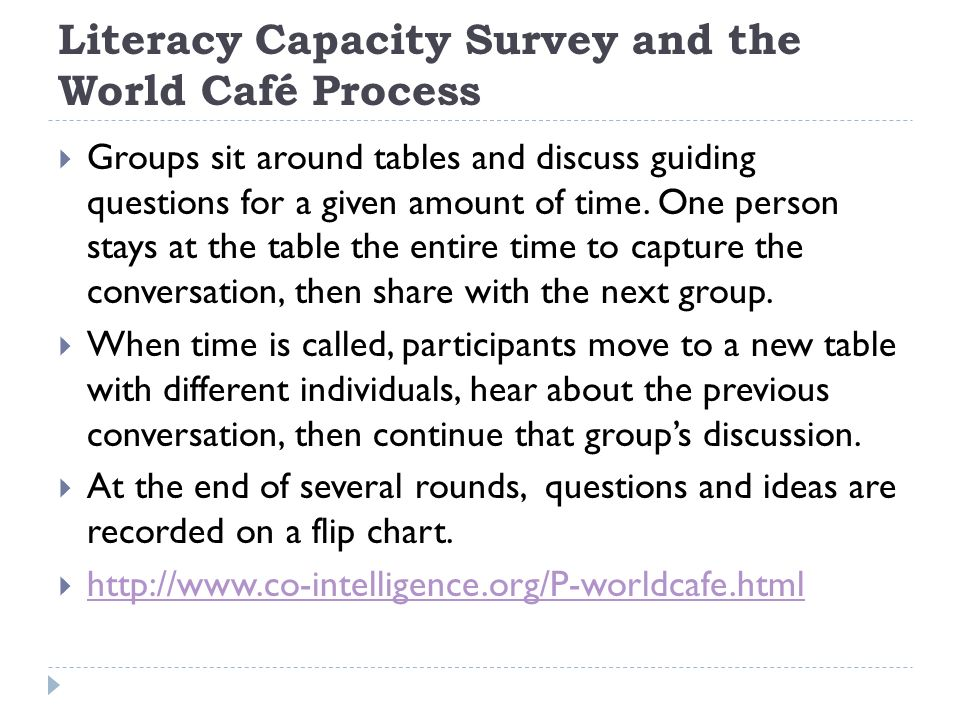 Literacy Capacity Survey and the World Café Process Groups sit around tables and discuss guiding questions for a given amount of time.