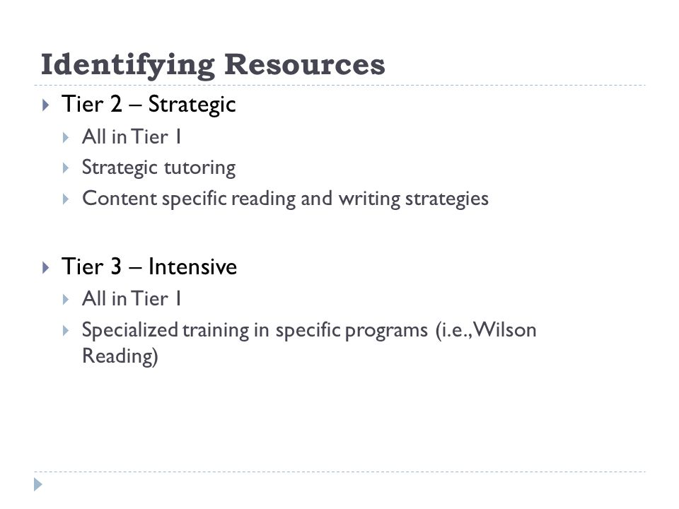 Identifying Resources Tier 2 – Strategic All in Tier 1 Strategic tutoring Content specific reading and writing strategies Tier 3 – Intensive All in Tier 1 Specialized training in specific programs (i.e., Wilson Reading)