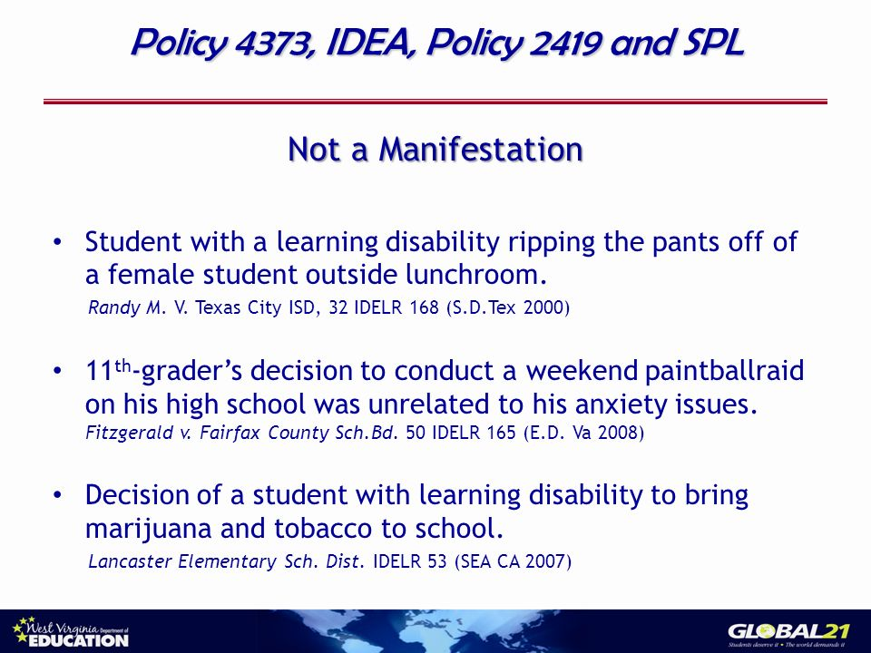 Policy 4373, IDEA, Policy 2419 and SPL Not a Manifestation Student with a learning disability ripping the pants off of a female student outside lunchr