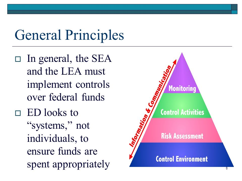 8 General Principles In general, the SEA and the LEA must implement controls over federal funds ED looks to systems, not individuals, to ensure funds are spent appropriately