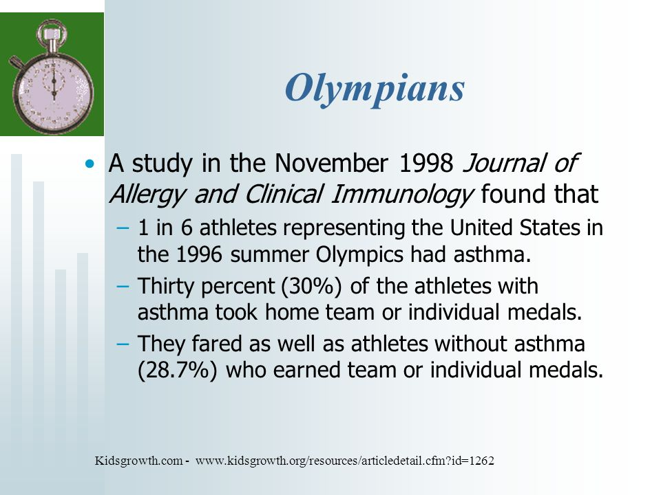 Olympians A study in the November 1998 Journal of Allergy and Clinical Immunology found that –1 in 6 athletes representing the United States in the 1996 summer Olympics had asthma.