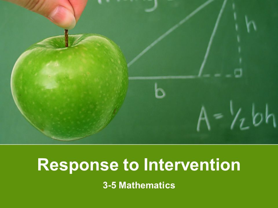 Response to Intervention 3-5 Mathematics