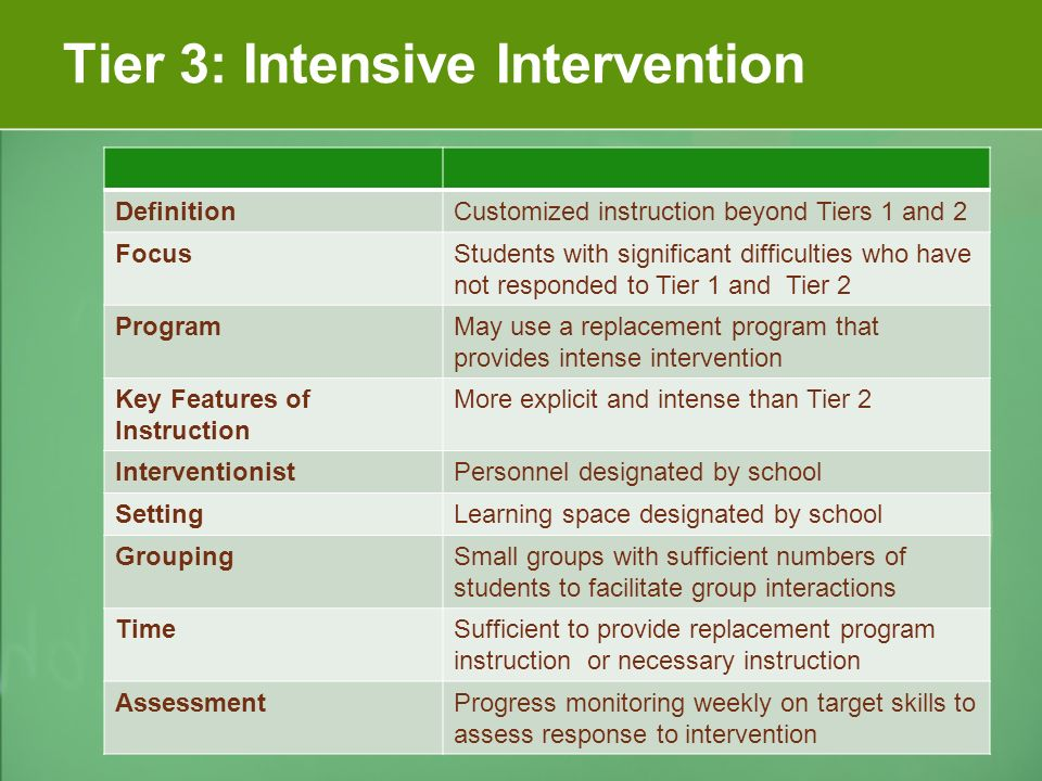 Tier 3: Intensive Intervention DefinitionCustomized instruction beyond Tiers 1 and 2 FocusStudents with significant difficulties who have not responded to Tier 1 and Tier 2 ProgramMay use a replacement program that provides intense intervention Key Features of Instruction More explicit and intense than Tier 2 InterventionistPersonnel designated by school SettingLearning space designated by school GroupingSmall groups with sufficient numbers of students to facilitate group interactions TimeSufficient to provide replacement program instruction or necessary instruction AssessmentProgress monitoring weekly on target skills to assess response to intervention