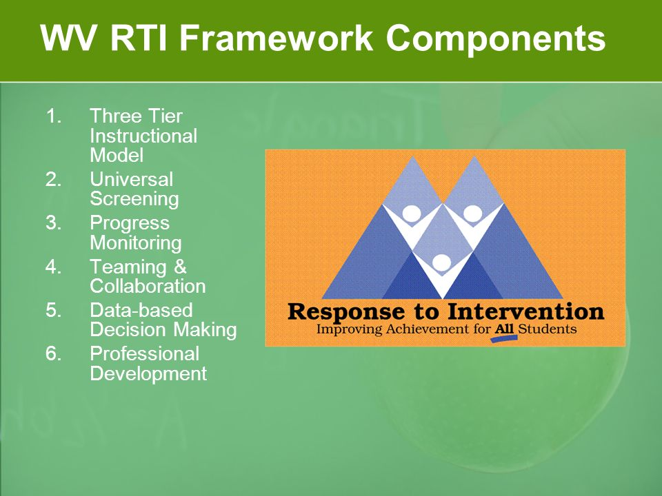WV RTI Framework Components 1.Three Tier Instructional Model 2.Universal Screening 3.Progress Monitoring 4.Teaming & Collaboration 5.Data-based Decision Making 6.Professional Development