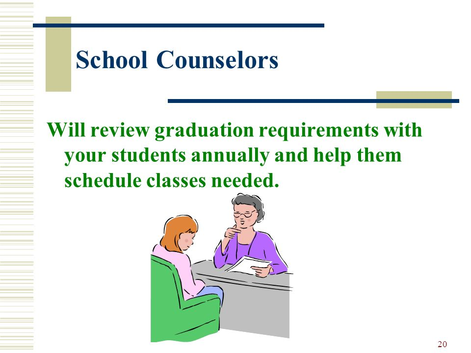 20 School Counselors Will review graduation requirements with your students annually and help them schedule classes needed.