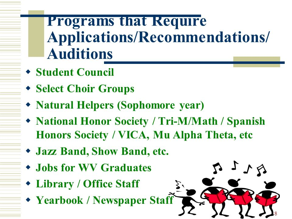 38 Programs that Require Applications/Recommendations/ Auditions Student Council Select Choir Groups Natural Helpers (Sophomore year) National Honor S