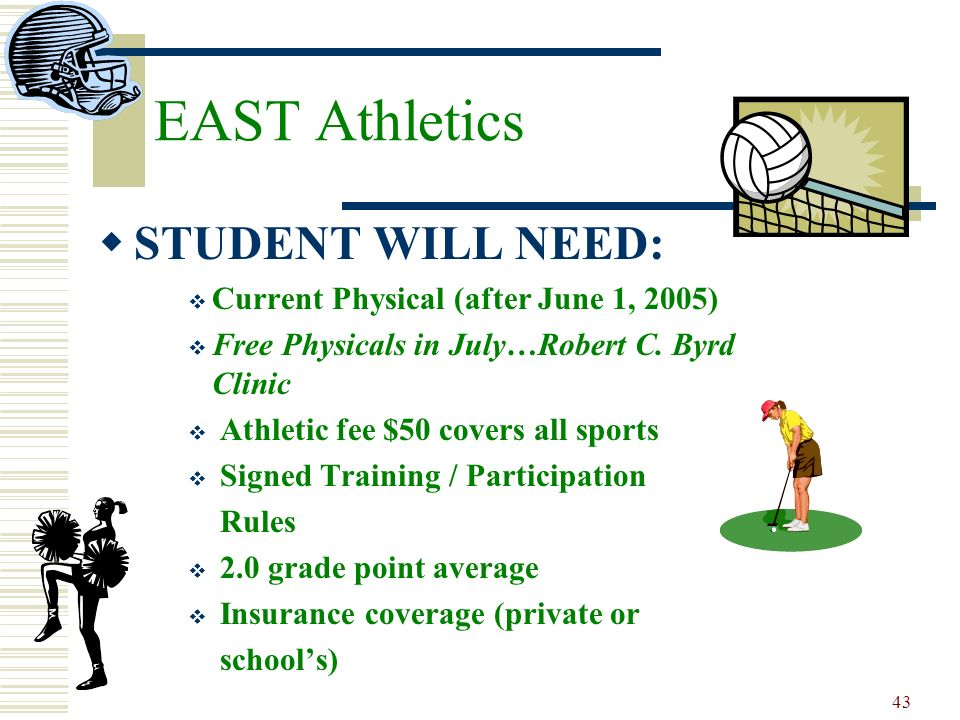 43 EAST Athletics STUDENT WILL NEED: Current Physical (after June 1, 2005) Free Physicals in July…Robert C. Byrd Clinic Athletic fee $50 covers all sp
