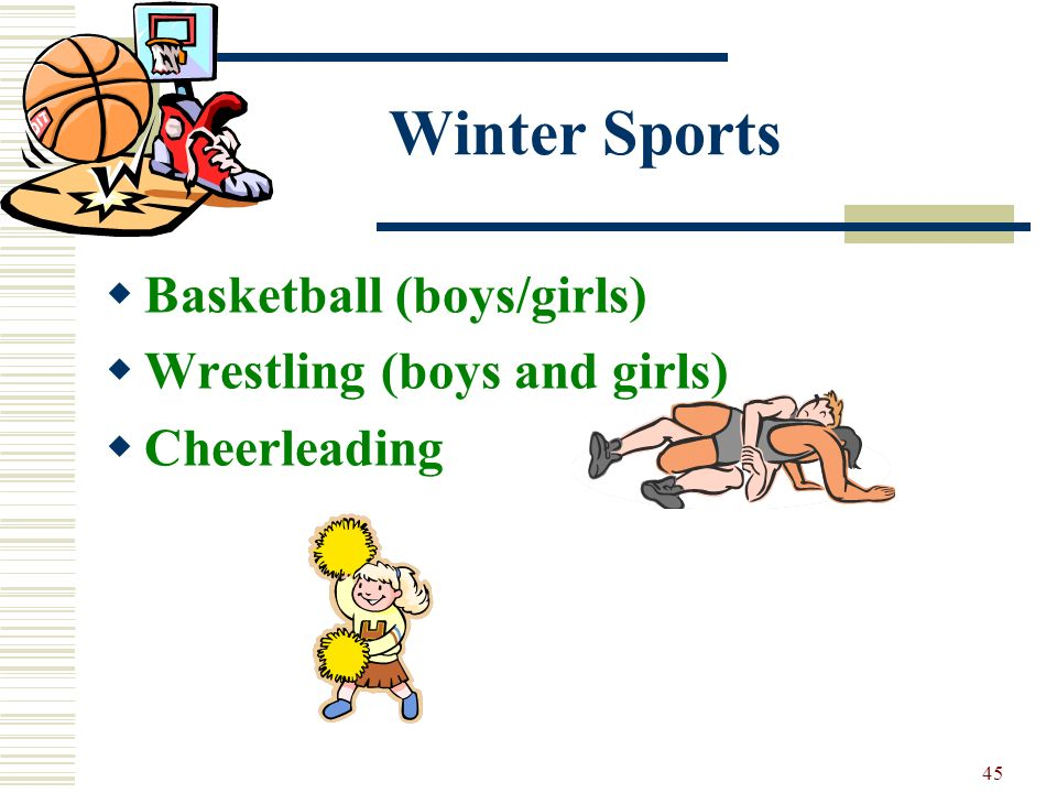 45 Winter Sports Basketball (boys/girls) Wrestling (boys and girls) Cheerleading