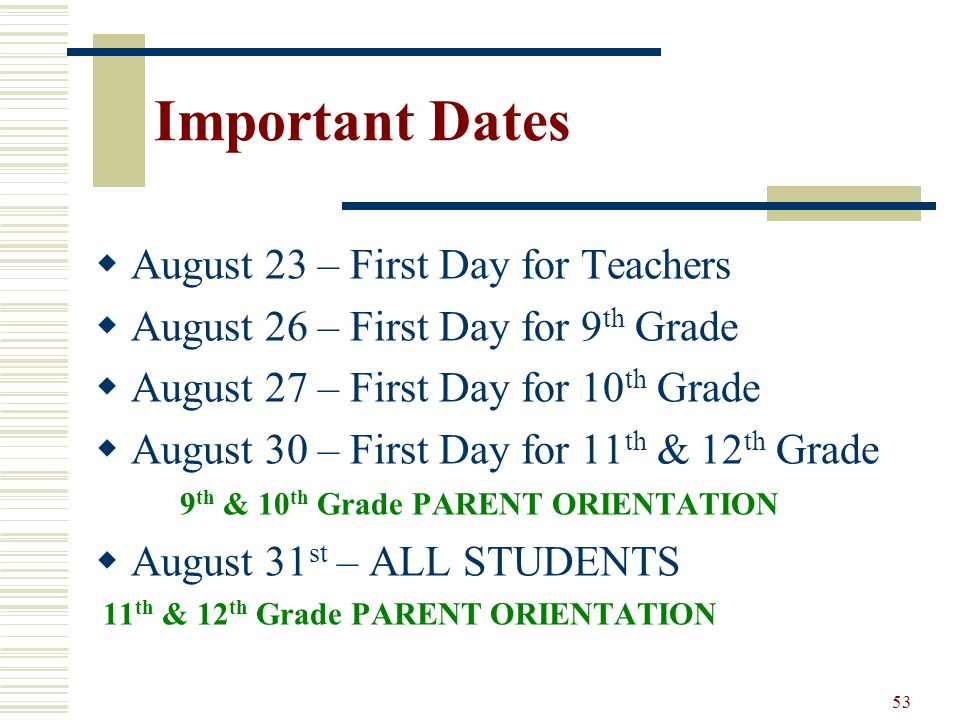 53 Important Dates August 23 – First Day for Teachers August 26 – First Day for 9 th Grade August 27 – First Day for 10 th Grade August 30 – First Day