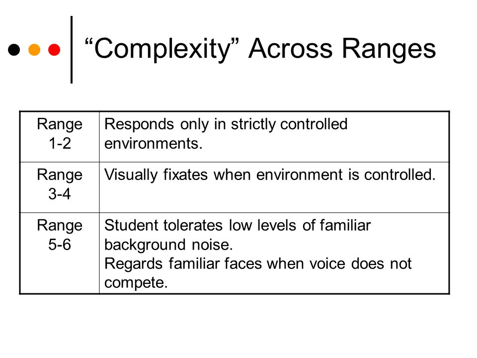 Complexity Across Ranges Range 1-2 Responds only in strictly controlled environments.