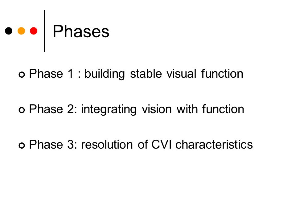 Phases Phase 1 : building stable visual function Phase 2: integrating vision with function Phase 3: resolution of CVI characteristics