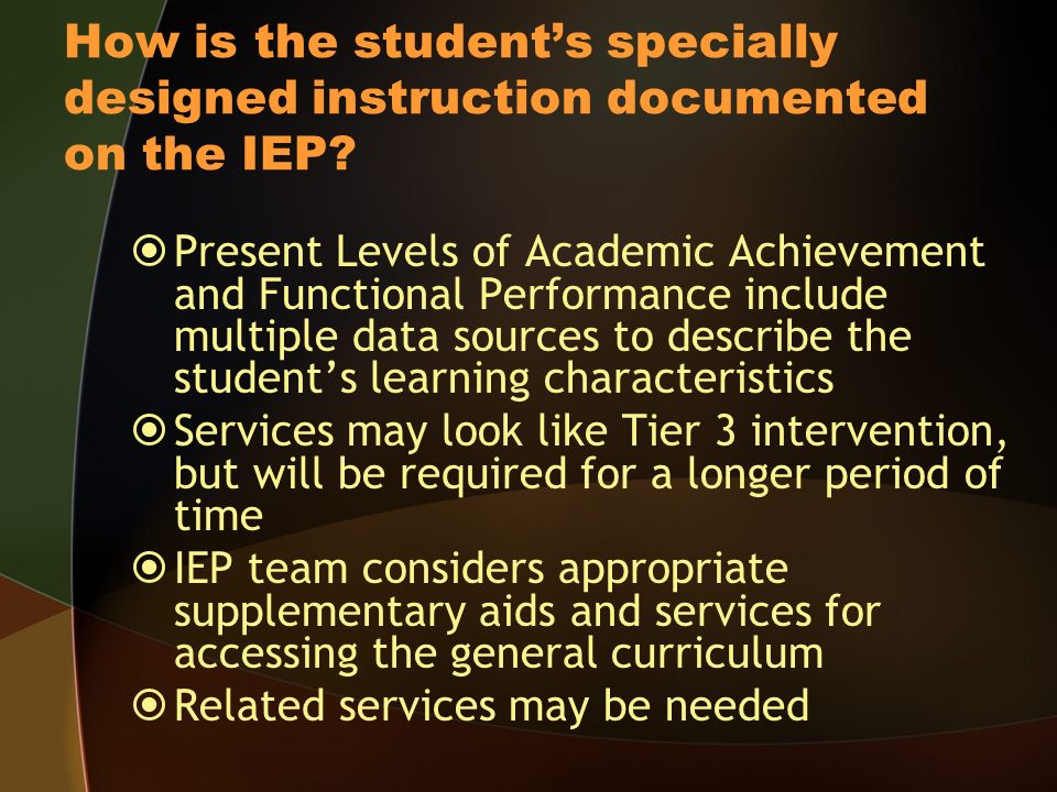 How is the students specially designed instruction documented on the IEP.