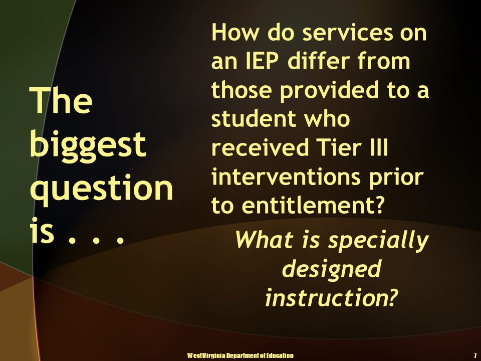 How do services on an IEP differ from those provided to a student who received Tier III interventions prior to entitlement.