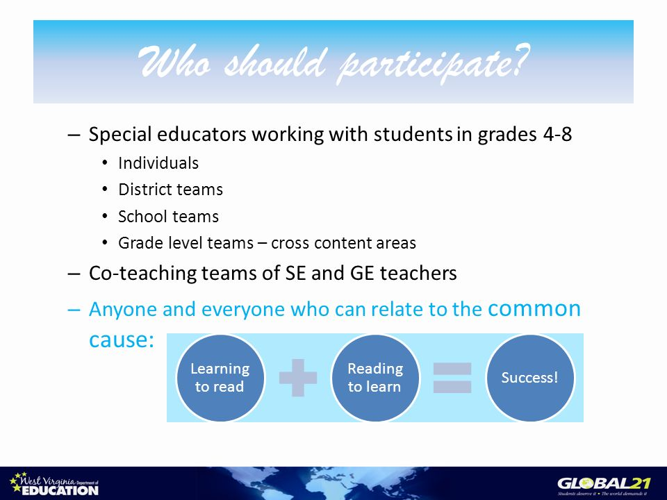 – Special educators working with students in grades 4-8 Individuals District teams School teams Grade level teams – cross content areas – Co-teaching