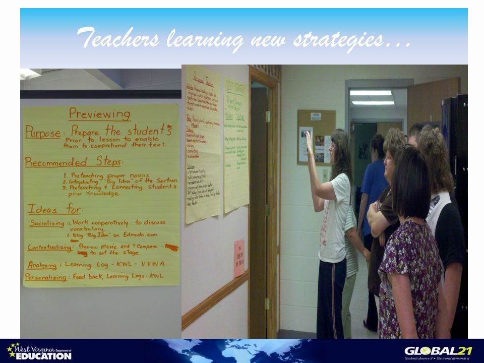 Teachers learning new strategies…