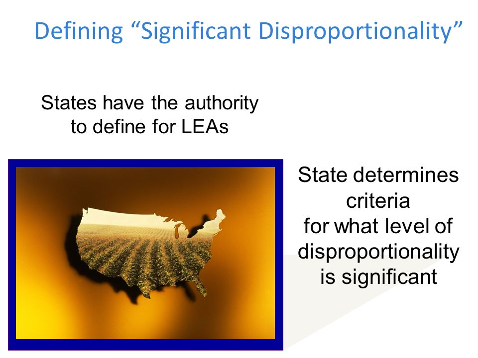 Defining Significant Disproportionality States have the authority to define for LEAs State determines criteria for what level of disproportionality is significant