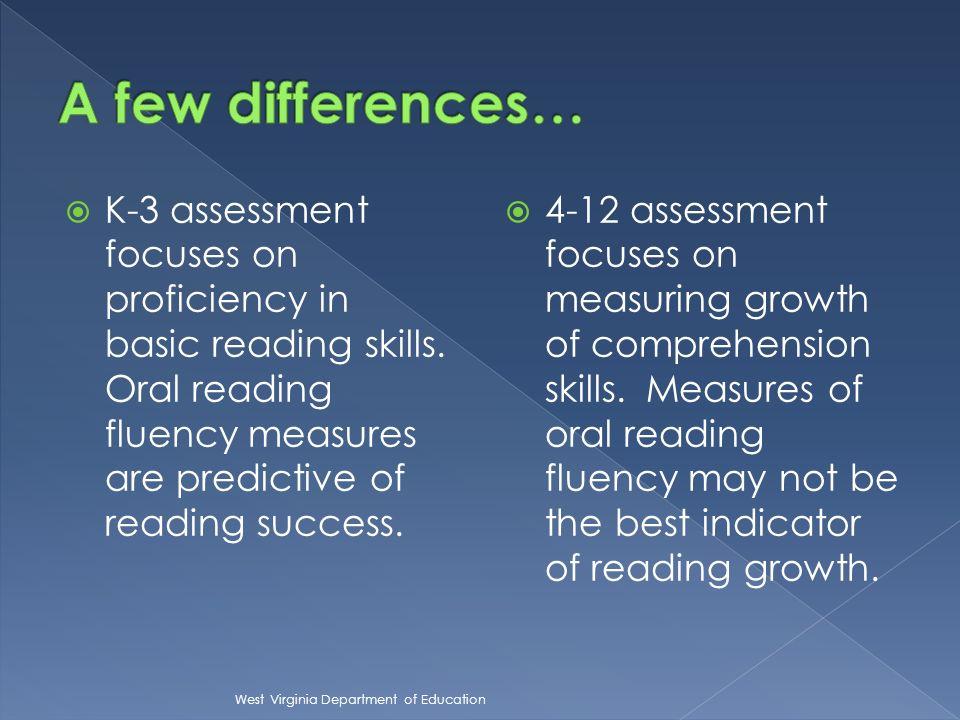 K-3 assessment focuses on proficiency in basic reading skills.