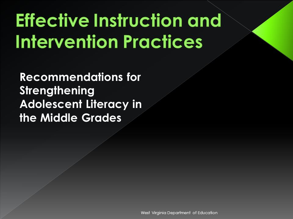 Recommendations for Strengthening Adolescent Literacy in the Middle Grades