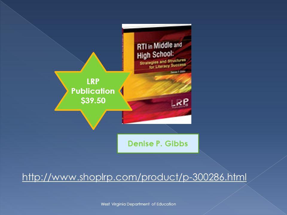 http://www.shoplrp.com/product/p-300286.html Denise P. Gibbs LRP Publication $39.50