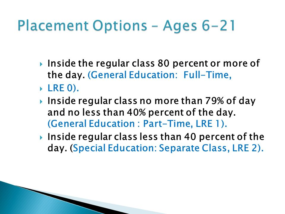 Inside the regular class 80 percent or more of the day. (General Education: Full-Time, LRE 0). Inside regular class no more than 79% of day and no les