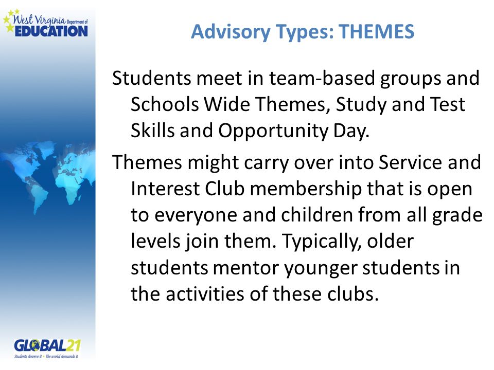 Advisory Types: THEMES Students meet in team-based groups and Schools Wide Themes, Study and Test Skills and Opportunity Day.