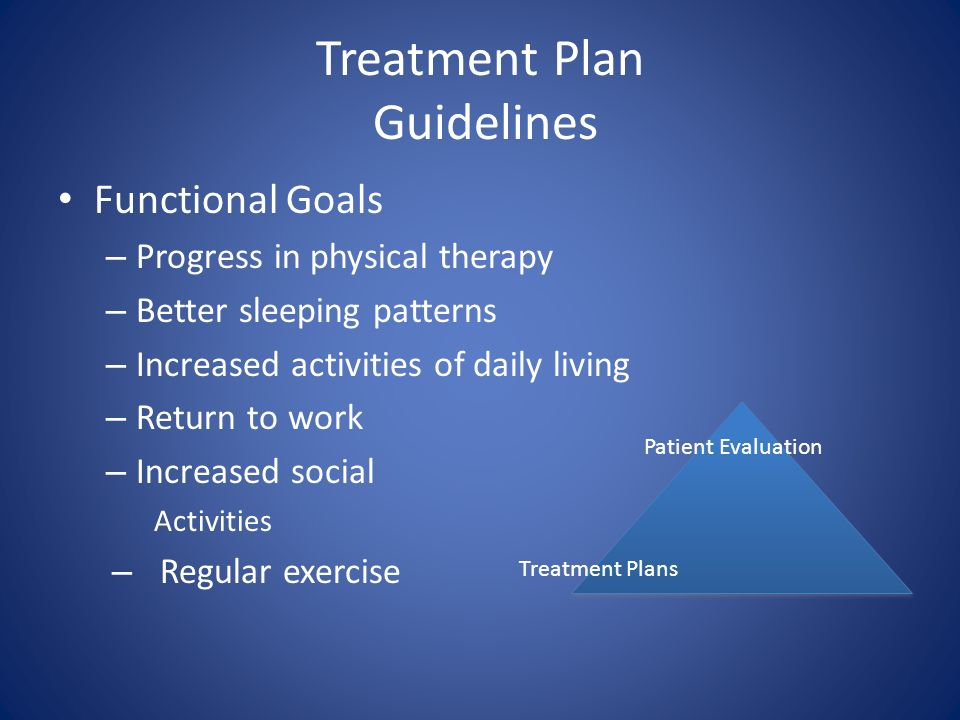 Treatment Plan Guidelines Functional Goals – Progress in physical therapy – Better sleeping patterns – Increased activities of daily living – Return t