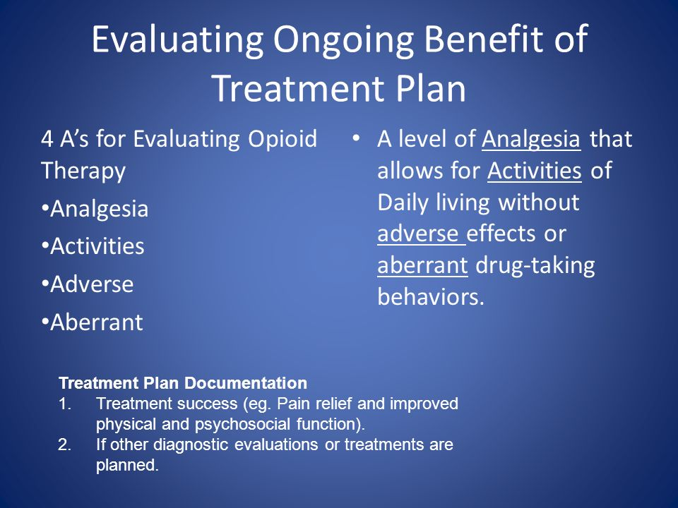 Evaluating Ongoing Benefit of Treatment Plan 4 As for Evaluating Opioid Therapy Analgesia Activities Adverse Aberrant A level of Analgesia that allows